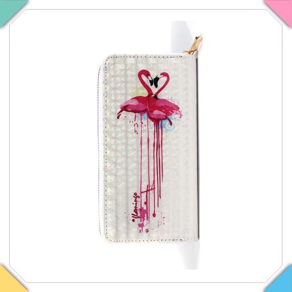Handbags - Flamingo Print Zip Around Wallet